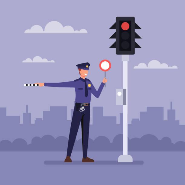 Polizisten in der Nähe von Ampel. Vector Flachbild-Zeichentrickfilm – Vektorgrafik