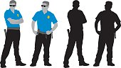 Vector silhouettes of two policemen. Includes colored and black and white versions.