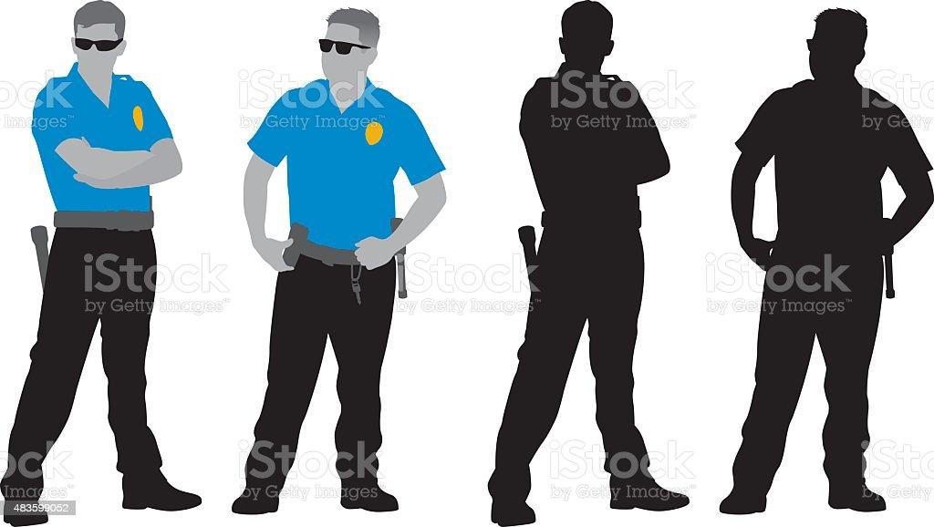 Policemen Silhouettes vector art illustration