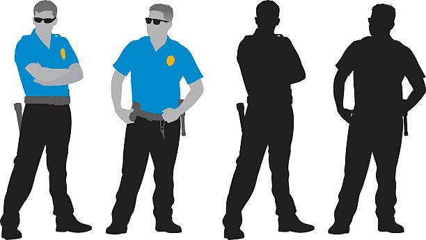 policemen silhouettes - police officer stock illustrations, clip art, cartoons, & icons