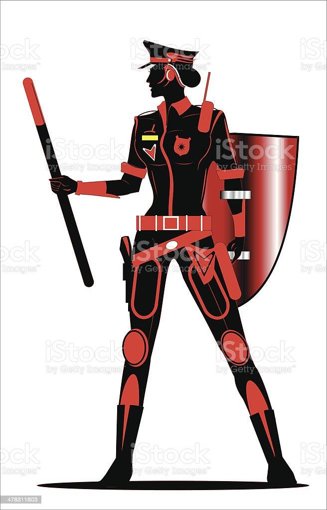 Polizistin holding shield und stick – Vektorgrafik