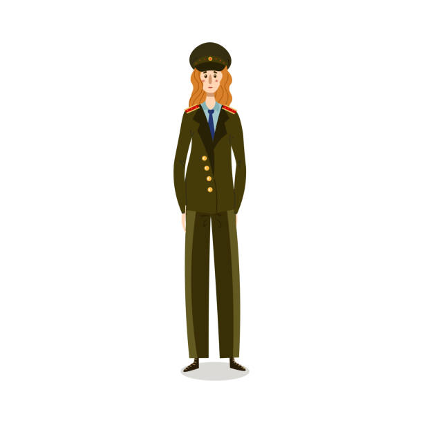 Policewoman in green military uniform and cap illustration Hand drawn young caucasian woman in green military uniform and cap working in police over white background vector illustration. Elegant policewoman concept sergeant stock illustrations