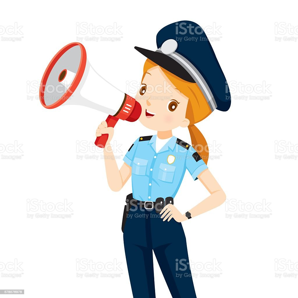 Policewoman With Megaphone Announcement Stock Illustration ...