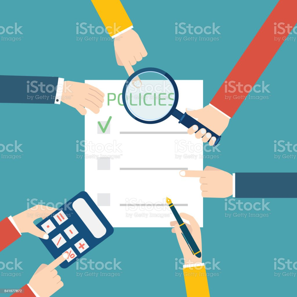policies concept with hands vector art illustration