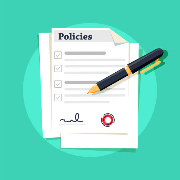 policies document. policies regulation concept list document company clipboard, vector illustration. - insurance stock illustrations