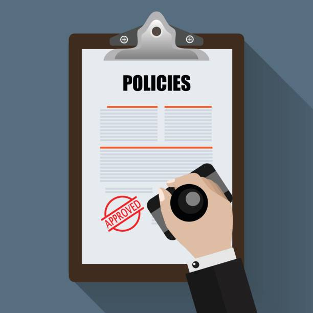 Policies with Approved stamp. Flat Designed Vector Illustration. Policies with Approved stamp. Flat Designed Vector Illustration. rules stock illustrations