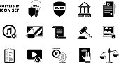 Policy copyright icon. Terms and conditions legal patent compliance standards individual rights protection vector black symbols. Individual copyright and trademark protection illustration
