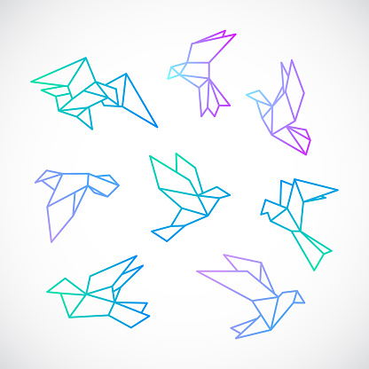 Poligonal dove illustration. Stylized flying dove birds set, isolated on white background. Vector template.