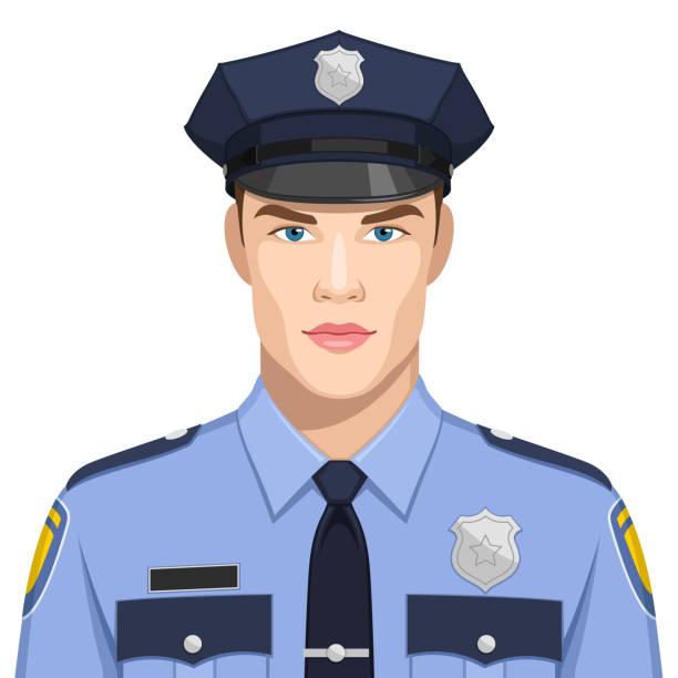 Polis Illustrationen visar en man som arbetar som polis police uniform stock illustrations