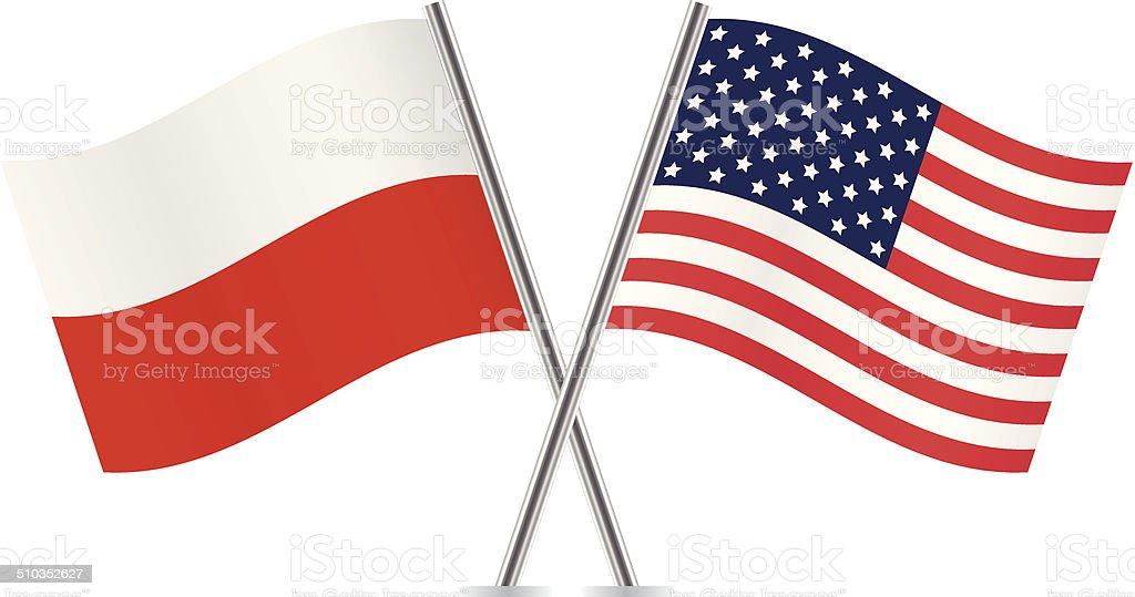 Polaco y American flags.  Vector. - ilustración de arte vectorial