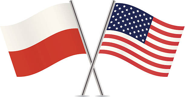 polish and american flags. vector. - polish flag stock illustrations, clip art, cartoons, & icons