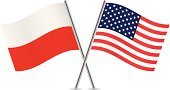 Polish and American flags. Vector.