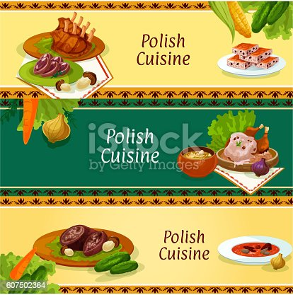 Polish cuisine banners for restaurant menu design stock for Artistic cuisine menu
