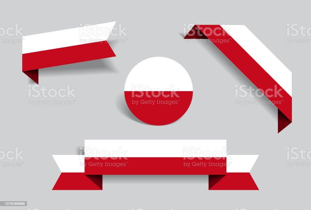 Etiquetas y pegatinas de la bandera polaca. Ilustración de vector. - ilustración de arte vectorial
