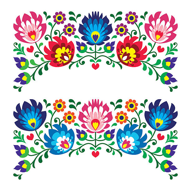 Polish floral folk art embroidery patterns for card Traditional vector pattern form Poland - paper cutouts style isolated on white  polish culture stock illustrations