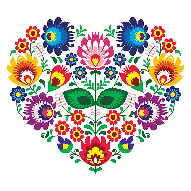 Polish folk art art heart embroidery with flowers Decorative traditional vector patterns set - paper cut out style isolated on white polish culture stock illustrations