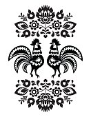 Polish folk art embroidery with roosters in black and white
