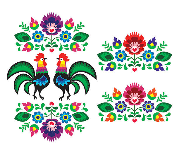 stockillustraties, clipart, cartoons en iconen met polish folk art embroidery with roosters - traditional folk pattern - polen