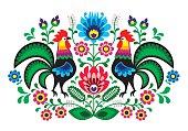 Polish folk art floral embroidery with cocks - traditional folk pattern