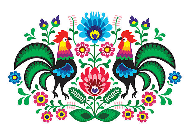 Polish folk art floral embroidery with cocks - traditional folk pattern Decorative traditional vector patters set - paper cutouts style isolated on white polish culture stock illustrations