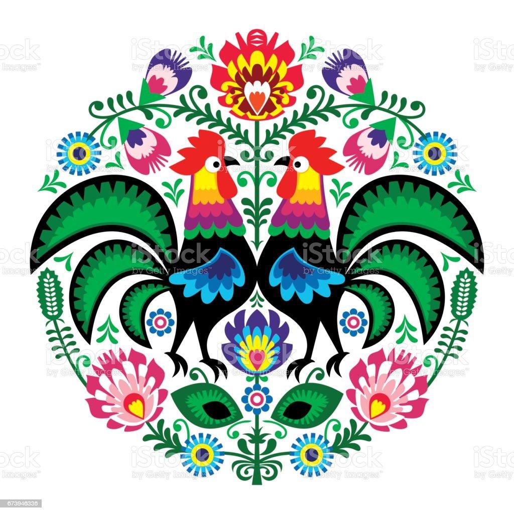 Polonês folk arte floral bordado com galos, padrão tradicional - Wycinanki Lowickie - ilustração de arte em vetor