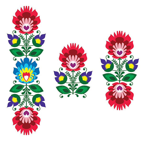 Polish folk art - floral traditional polish pattern Decorative traditional vector patters set - paper cutouts style isolated on black  polish culture stock illustrations