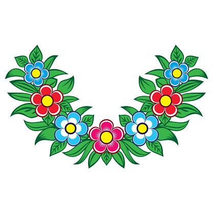 Polish folk art vector floral design - Zalipie decorative pattern with flowers and leaves - half round wreth