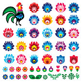 istock Polish folk art Wycinanki Lowickie vector design elements - flower, rooster, leaves. Perfect for textile patterns or greeting cards 1201413016