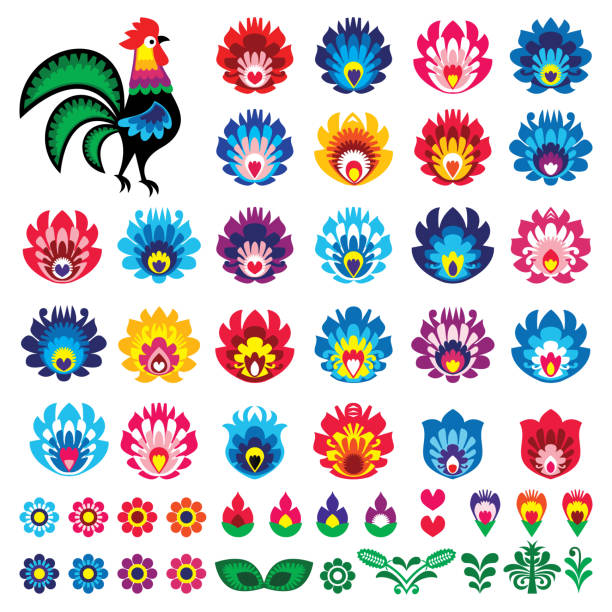 Polish folk art Wycinanki Lowickie vector design elements - flower, rooster, leaves. Perfect for textile patterns or greeting cards Retro floral decorative shapes, Slavic colorful template designs on white inspired by traditional paper cutout art from Poland polish culture stock illustrations
