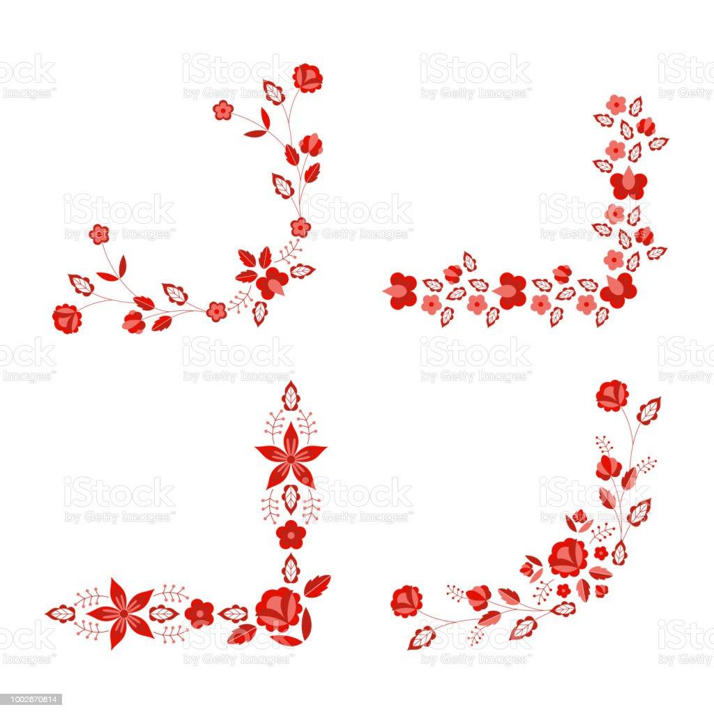 Polish folk pattern vector. Floral ethnic ornament. Slavic eastern european print. Red flower design for rustic wedding card, border corner, bohemian text decoration, gypsy fashion embroidery. vector art illustration