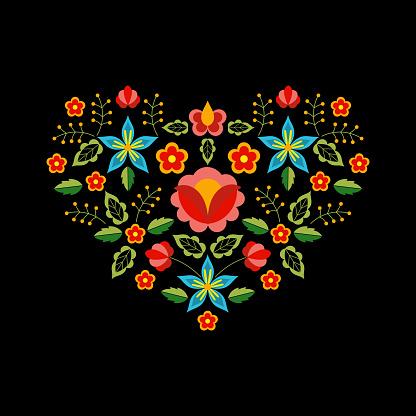 Polish folk pattern vector. Floral ethnic ornament. Slavic eastern european print. Heart flower design for boho valentines cards, bohemian pillow case, neckline embroidery, gypsy interior textile.
