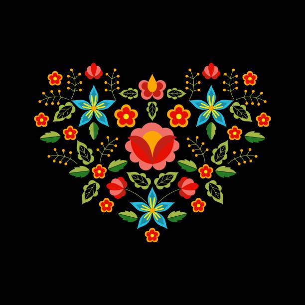 polnische folklore muster vektor. floral ethnischen ornament. slawische östlichen europäischen print. herz blumendesign für böhmische kopfkissenbezug, halsausschnitt stickerei, boho valentines karten, zigeuner innen textil. - herzkissen stock-grafiken, -clipart, -cartoons und -symbole