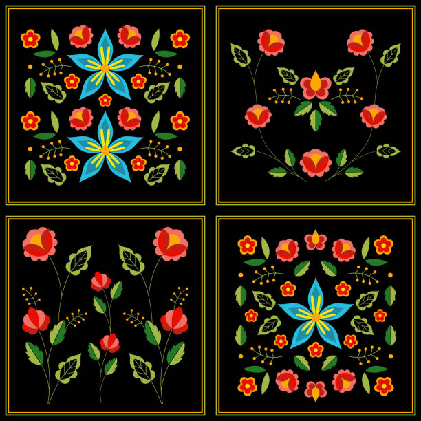 ilustrações de stock, clip art, desenhos animados e ícones de polish folk pattern vector. floral ethnic ornament. slavic eastern european print. patchwork flower design for bohemian blanket, gypsy interior textile, boho pillow case, fashion embroidery. - viana do castelo