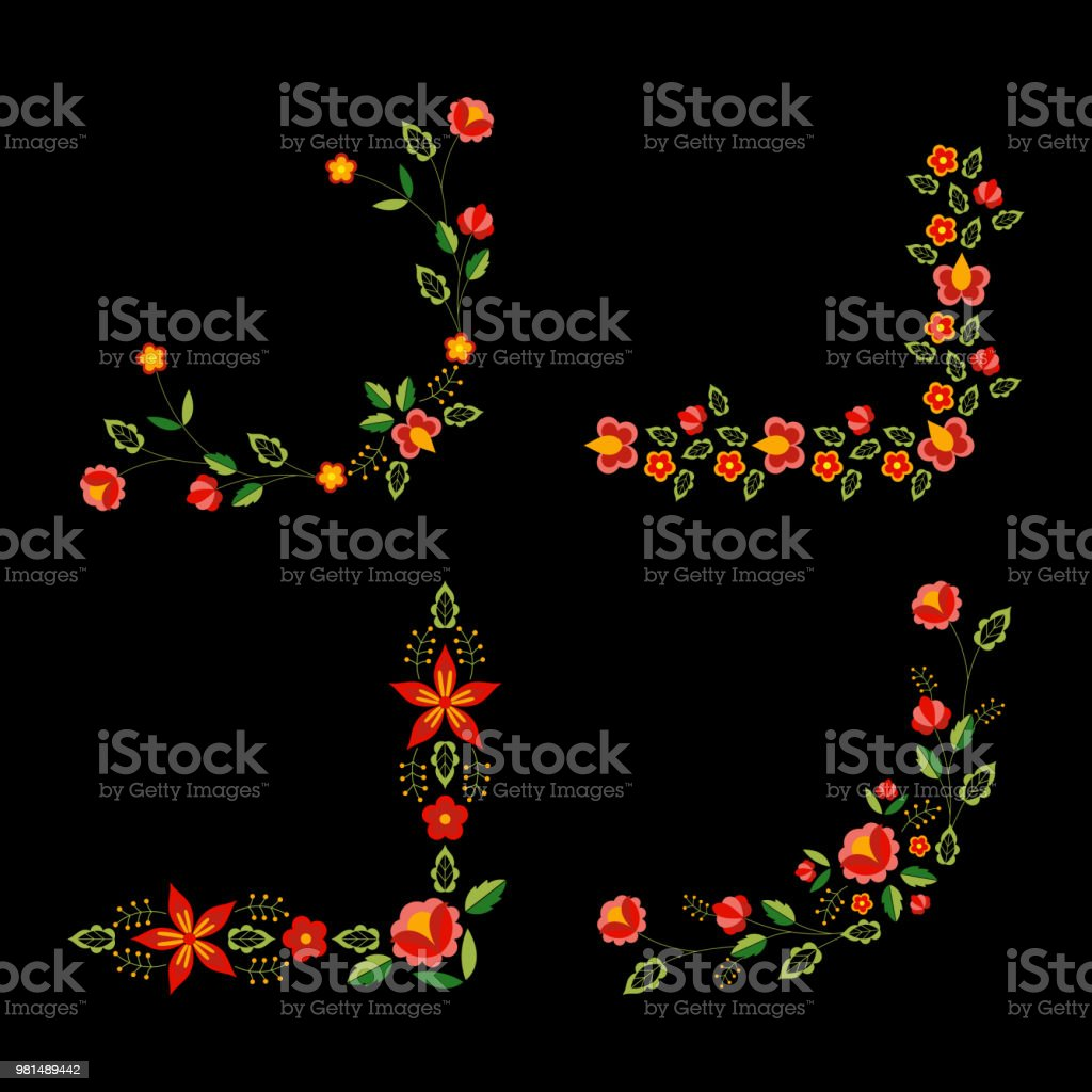 Polish folk pattern vector. Floral ethnic ornament. Slavic eastern european print. Frame corners flower design for bohemian pillow case, boho cards, gypsy embroidery, tablecloth and napkin textile. vector art illustration