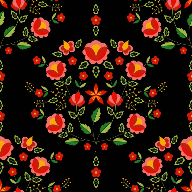 ilustrações de stock, clip art, desenhos animados e ícones de polish folk pattern vector. floral ethnic ornament. slavic eastern european print. seamless flower design for bohemian pillow case, boho blanket, gypsy rug, embroidery scarf, interior textile fabric. - viana do castelo