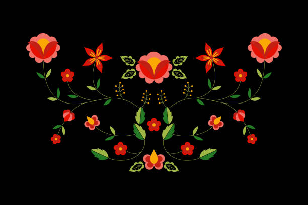 ilustrações de stock, clip art, desenhos animados e ícones de polish folk pattern vector. floral ethnic ornament. slavic eastern european print. flower design for bohemian pillow case, boho clothing neckline embroidery, gypsy interior textile, greeting cards. - viana do castelo