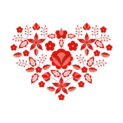 Polish folk pattern vector. Floral ethnic ornament. Slavic eastern european print. Red heart flower design for boho valentines cards, neckline embroidery, gypsy pillow case, bohemian interior textile.