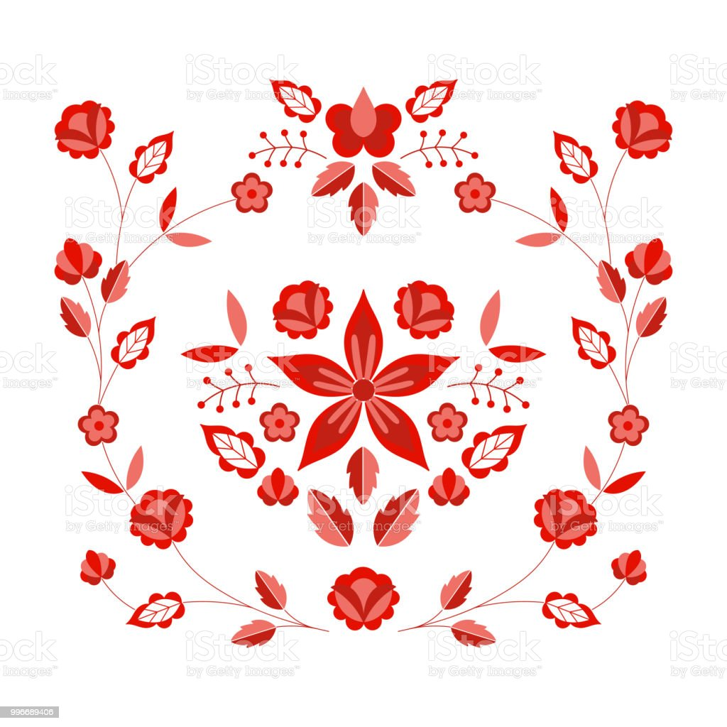 Ilustración de Vector Patrón Popular Polaco Ornamento Floral étnico ...