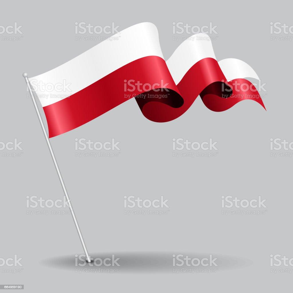 Polaco del pin bandera ondulada. Ilustración de vector. - ilustración de arte vectorial