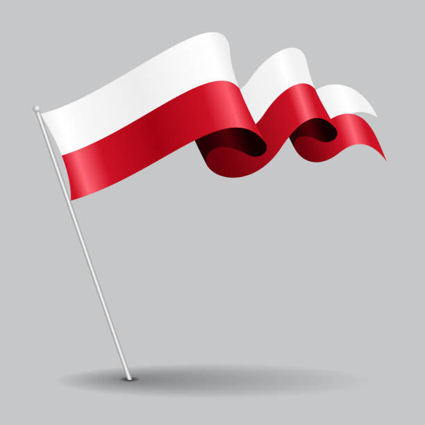 polish pin wavy flag. vector illustration. - polish flag stock illustrations, clip art, cartoons, & icons