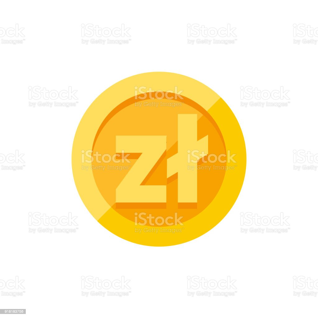 Polish Zloty Currency Symbol On Gold Coin Flat Style Stock Vector