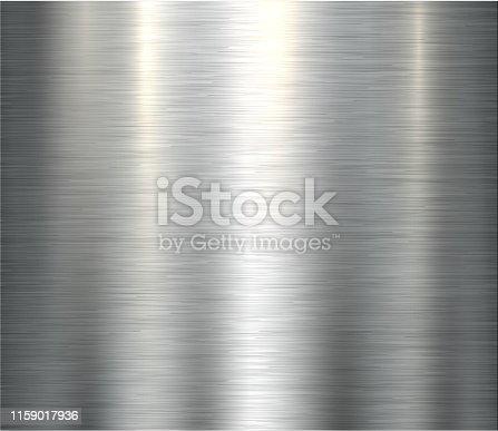 Polished metallic steel texture, vector brushed metal texture