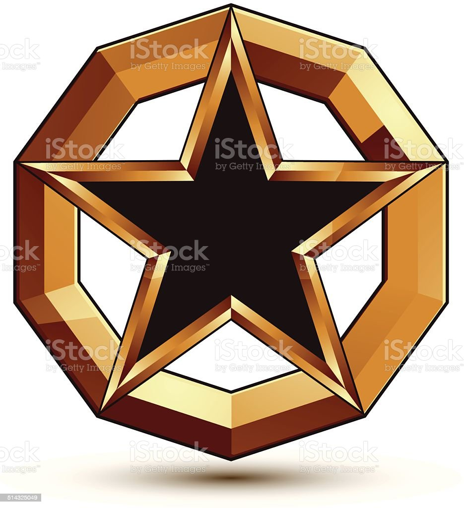 Polished vector template with pentagonal star, dimensional vector art illustration