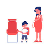 Little polite boy gives way to a pregnant woman in public transport flat vector Illustration isolated on a white background. Courtesy and good manners concept.