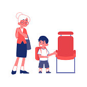 Little polite boy with good manners gives way to an elderly woman flat vector Illustration isolated on a white background. Courtesy and respectful behavior concept.