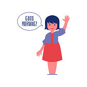 Cheerful polite school girl saying Good morning flat cute vector illustration isolated on white background. Good manners and etiquette rules of behavior concept.
