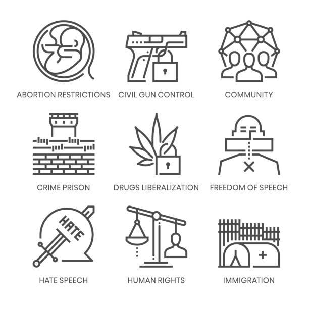 ilustraciones, imágenes clip art, dibujos animados e iconos de stock de agenda política relacionada, conjunto de iconos vectoriales de línea cuadrada - civil rights