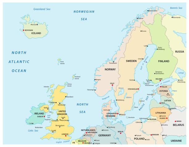 politischen und administrativen vektorkarte von nordeuropa mit staatsgrenzen - ostsee stock-grafiken, -clipart, -cartoons und -symbole