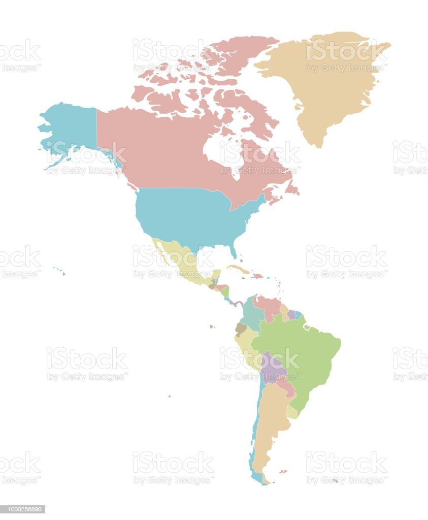 Carte Amerique Pays Vierge.Politique Vierge Carte Amerique Vector Illustration Isole