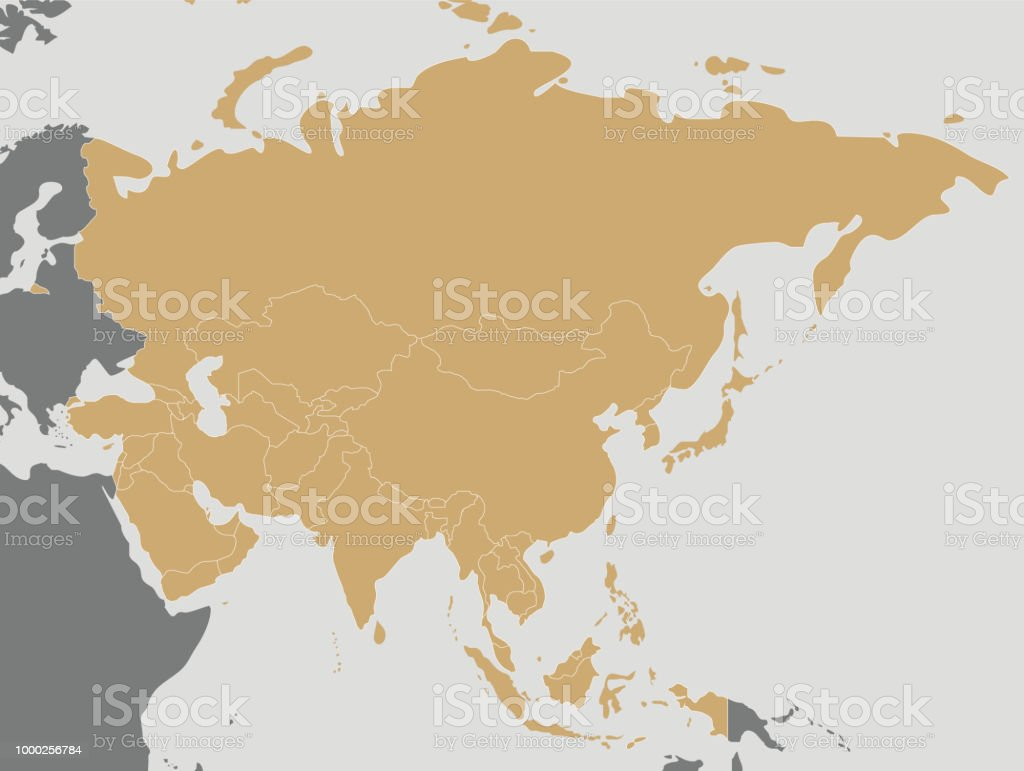 Political Blank Asia Map Vector Illustration Editable And Clearly ...